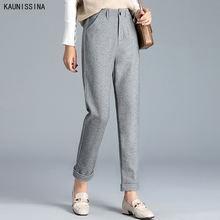 Осенне зимние женские штаны с эластичной высокой талией шаровары