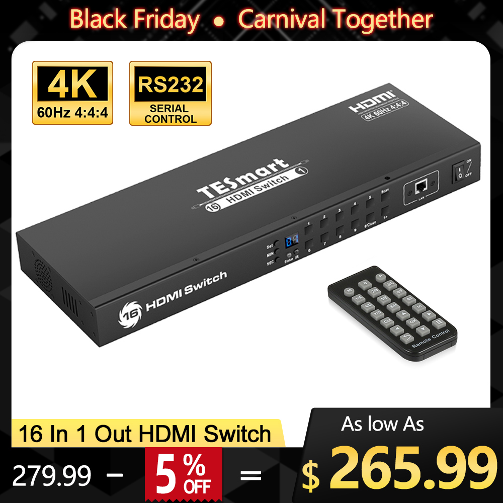 16 Ports HDMI Switch Rack Mount Video Audio HDMI Switcher 16 Port HDMI Splitter Switcher 16 In 1 Out Support 3840*2160/4K@60Hz