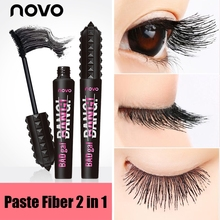 NOVO 2 In 1 Waterproof Mascara 3d Fiber Lash Lengthening Thick Curling Natural