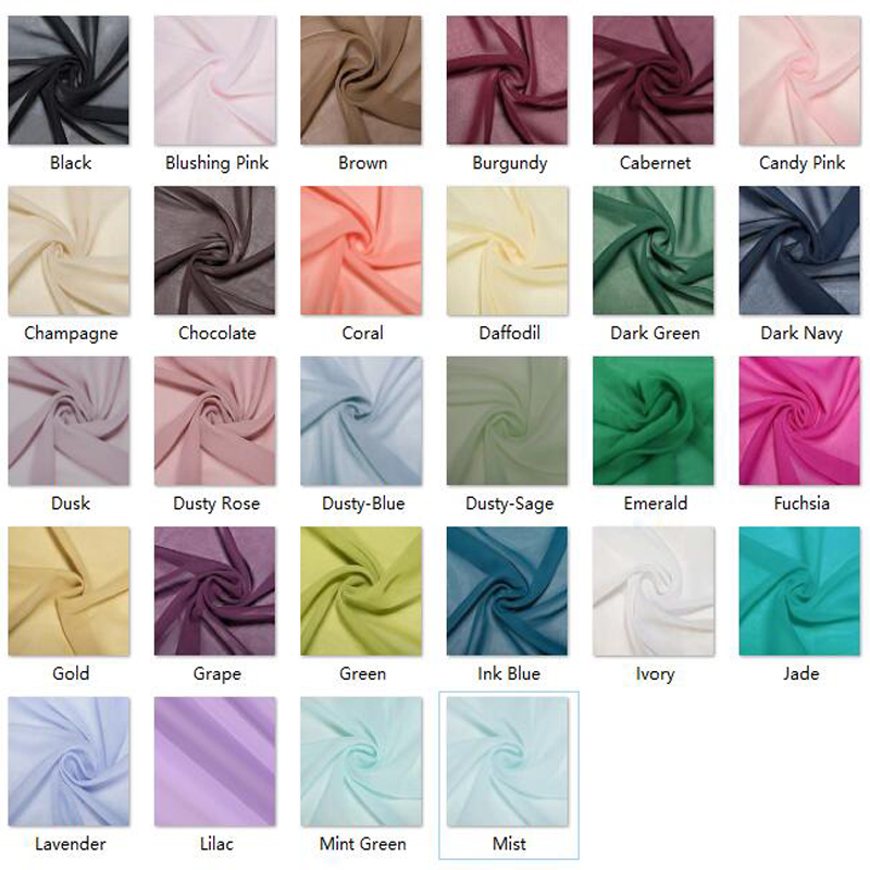 50 Colors Chiffon Fabric Solid Color New Fashion 58 Inch Polyester Black Burgundy Fabric Cloth For Bridal Wedding Dress