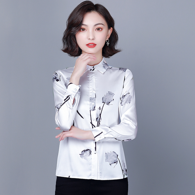 Chikichi 2021 New Spring Ladies Shirt Floral Long-sleeved Fashion Loose Oversized Satin Top Women Blouses Plus Size 4XL 3