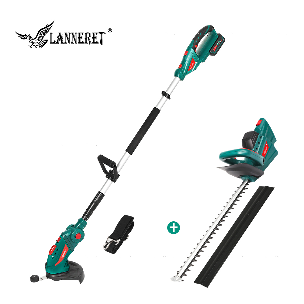 LANNERET 20V Cordless Pole Hedge Trimmer Grass Trimmer 2.0Ah Battery And Charger Household Garden Tool