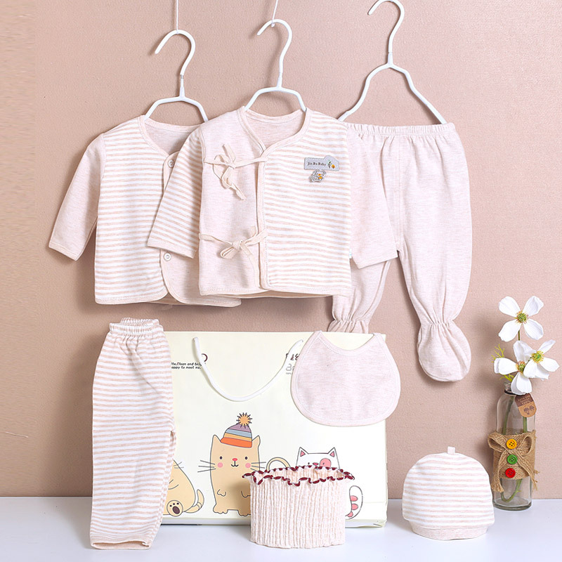 Spring And Autumn Summer Newborns Gift Box Pure Cotton Baby Underclothes Colored Cotton Seven Sets Of Primary BABY'S FIRST Month