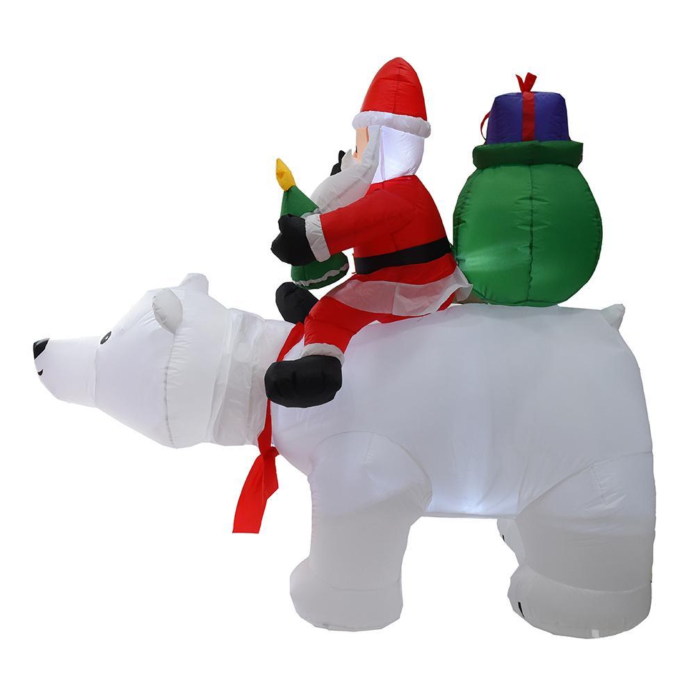 2M Oso Polar inflable Santa Claus montando Navidad muñeca inflable Año Nuevo Feliz Navidad decoración para el centro comercial - 2