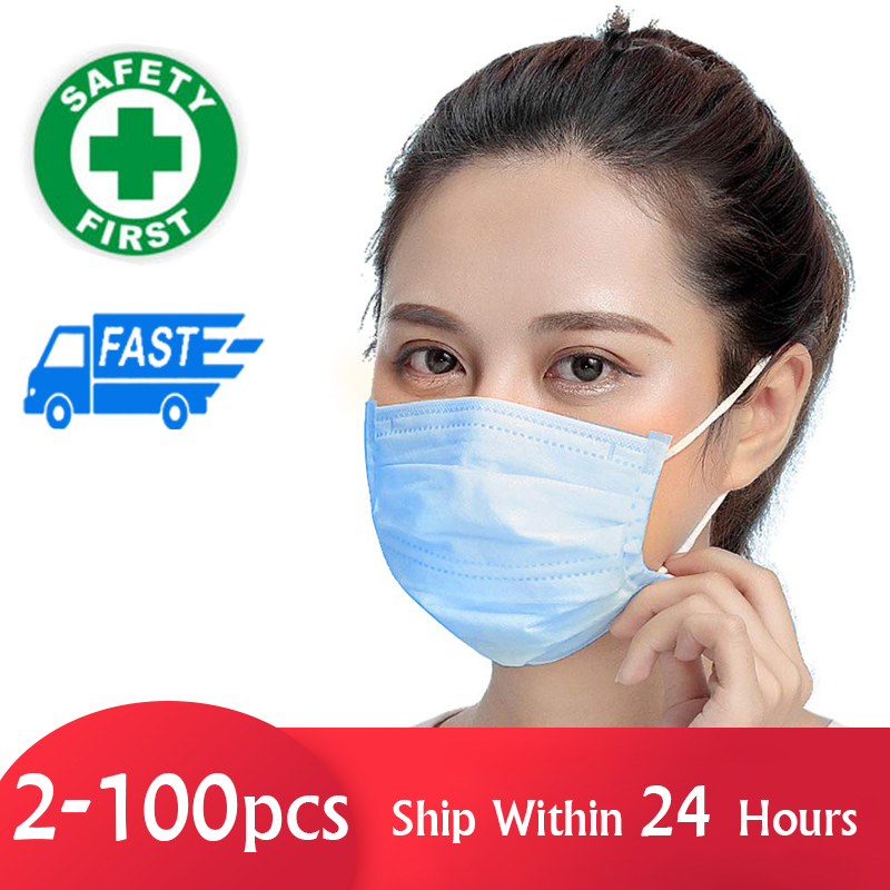 Disposable Face Mask Filter Safety Mask Dust Protection - Protective 3-ply Non-Woven Facial Masks Personal Health Mask Home Use