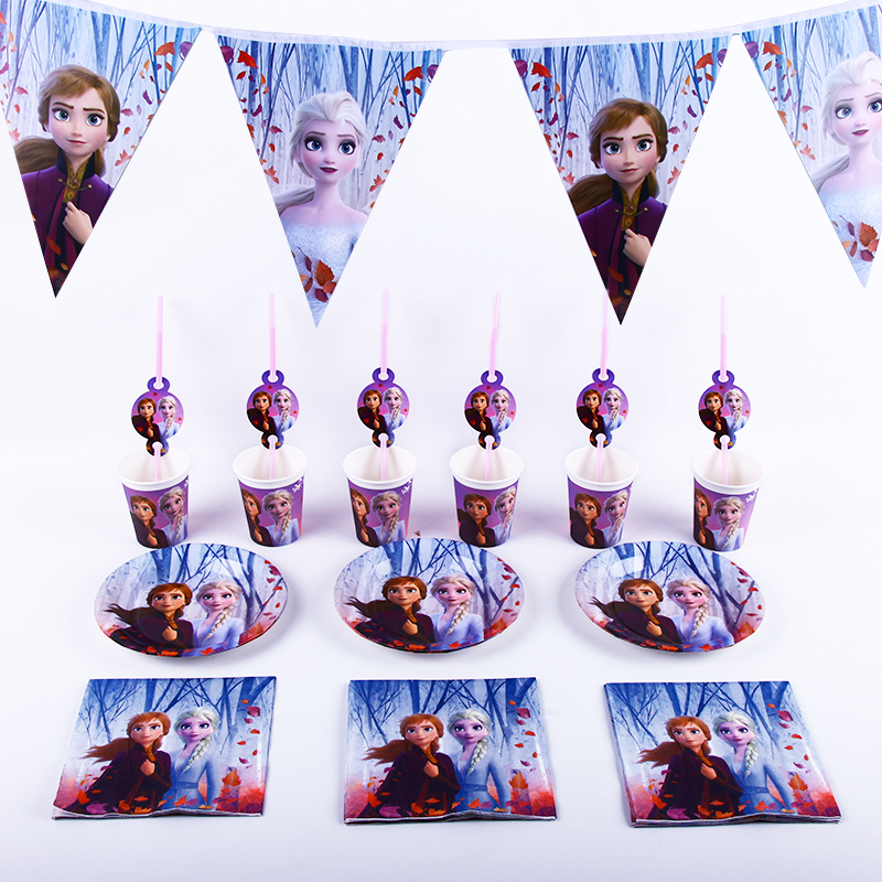 40pcs / Lot Disney Frozen 2 Aisha And Anna Birthday Party Decoration Disposable Cup Plate Party Supplies Baby Shower