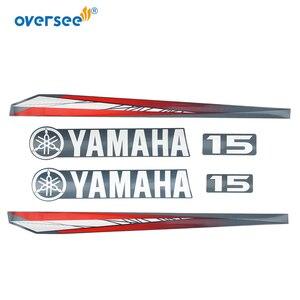 Image 3 - 63W 42677 Yamaha 15 hp dıştan takma çıkartmaları etiket seti deniz vinil üst düşürme etiket 63V W0070 11