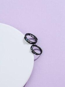 LEKANI стерлингового серебра 925 ювелирные изделия черные кольца для женщин Яркие кубического циркония регулируемое кольцо для пары в винтажном стиле, в богемном стиле, в стиле ретро; Подарок