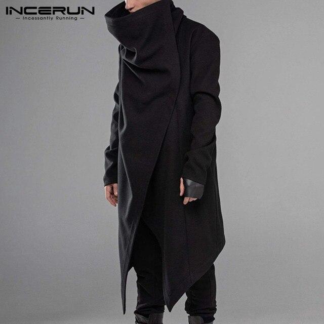 INCERUN Men Cloak Coats Streetwear Turtleneck Solid Long Sleeve Fashion Men Cape Outerwear Punk Style Irregular Jackets S-5XL 1