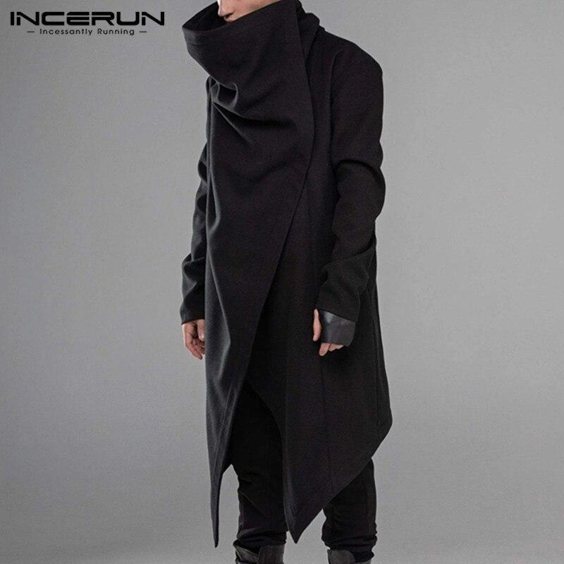 INCERUN Men Cloak Coats Streetwear Turtleneck Solid Long Sleeve Fashion Men Cape Outerwear Punk Style Irregular Jackets S-5XL