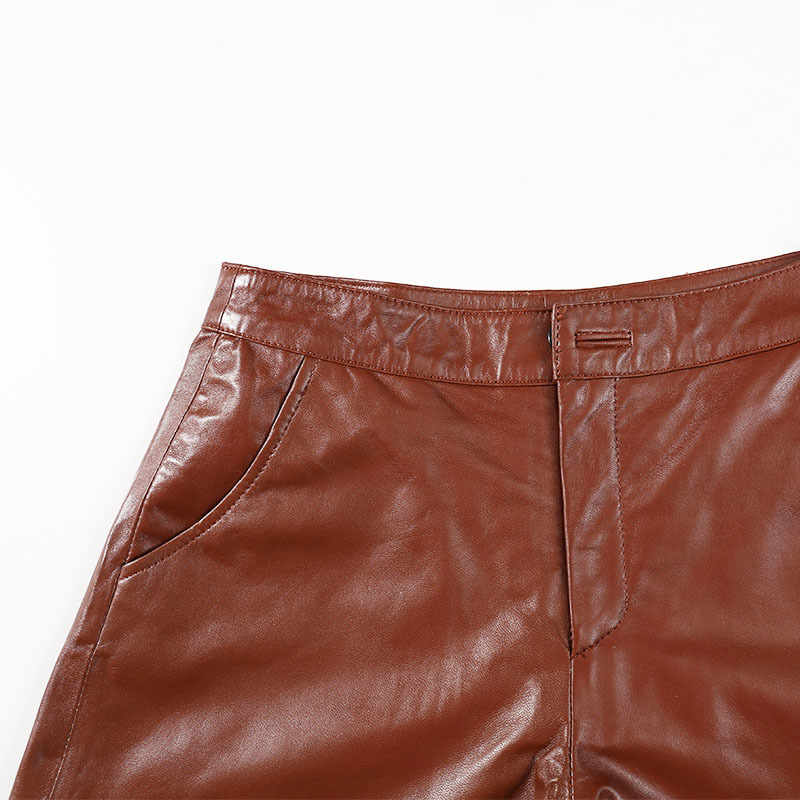 Women 2020 Genuine Leather Brown Casual Zipper Female Sexy Vintage Korean Style Real Sheepskin Ladies Mini Shorts