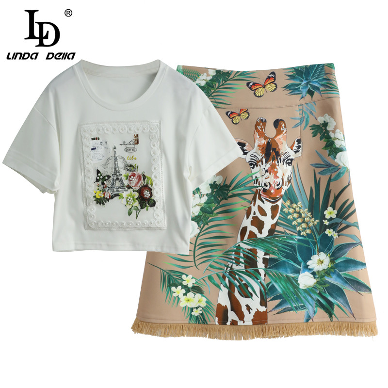 LD LINDA DELLA Summer Fashion Designer Skirt Suits Women's Short Sleeve Top And Animal Floral Print MIni Skirts 2 Two Pieces Set