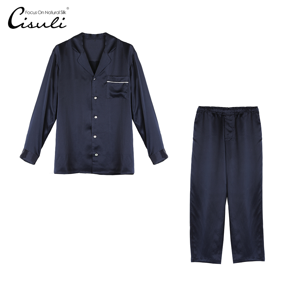CISULI 100% Pure Silk Pajama Set For Men Long Sleeve Pajama Autumn And Winter Sleepwear