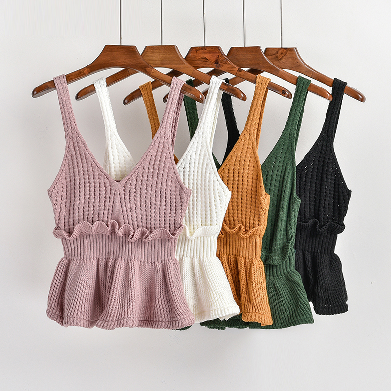 New Fashion Women Knitted Ruffles Vest Short Design Camis Tank Top Sleeveless Sweater Female Sexy Clothing Pullover Girls Tops