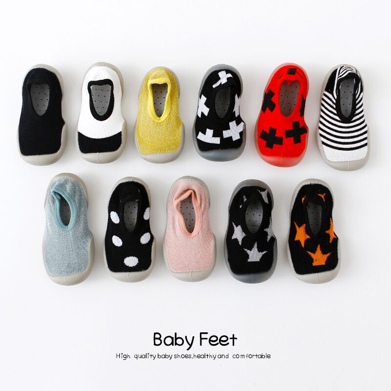 Baby Shoes Boy Girl Fashion Toddler Shoes Newborn Lovely Baby Booties Kids Anti-Slip Shoes Soft Rubber Soled Socks Shoes image