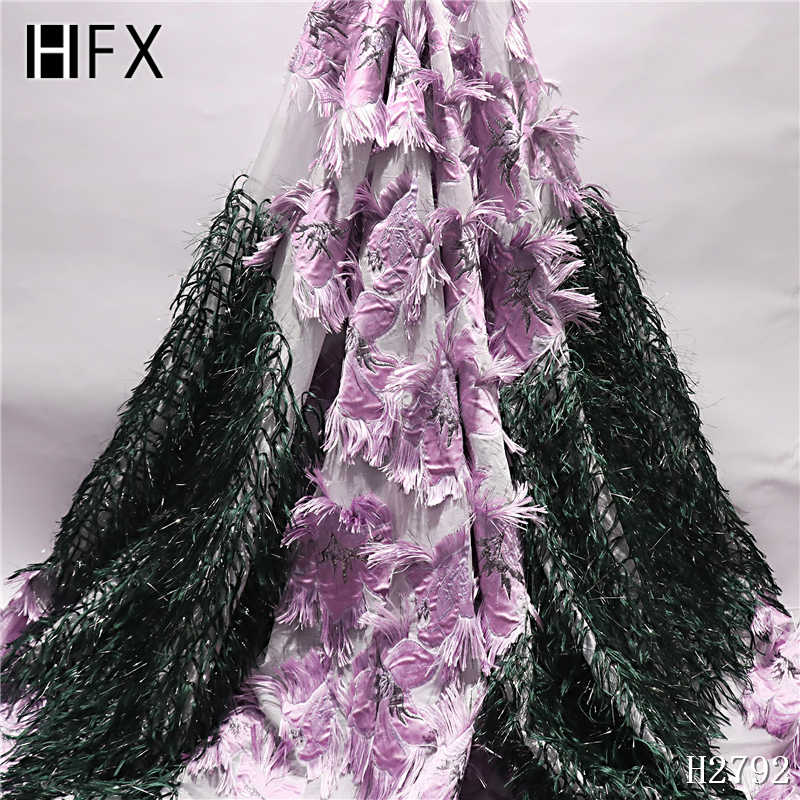 HFX 2019 Elmas zarif 3d çiçek mor renk tüy nakış Afrika tül dantel kumaş Nijeryalı fransız kumaş H2792
