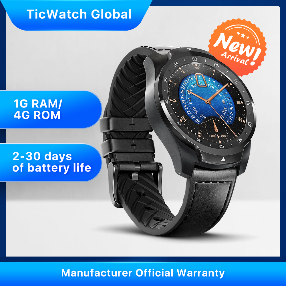 TicWatch Pro 2020, 1 ГБ ОЗУ , карта памяти , умные часы , двойной дисплей, IP68 , водонепроницаемый, NFC, отслеживание сна, 24 ч , пульсометр
