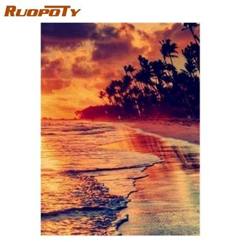 RUOPOTY  Frame DIY Painting By Numbers Landscape Sunset glow DIY Canvas Picture Hand Painted Home Decoration Wall Art Picture