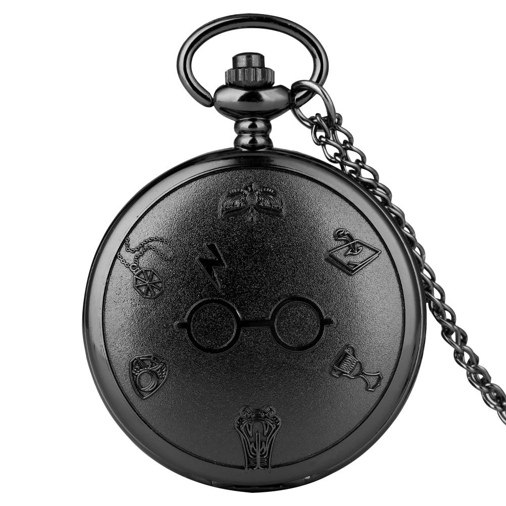 Black/Bronze/Gray Quartz Pocket Watch Lightning Glasses Steampunk Necklace Chain Pendant Watches Men Women Antique Gift
