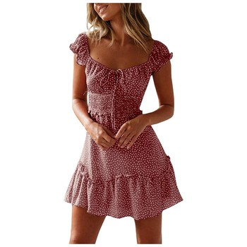 Women Clothing Summer Sexy Print Casual Dress Mini Dresses For Women Autumn Beach Casual Dresses Elegant Dresses Evening Mini Party Print Dresses Sexy Short Sleeve Slim Spring U Neck Dress Women Color: Pink Size: S