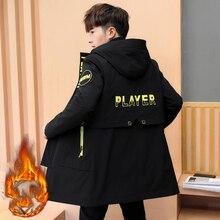 Зимняя куртка мужская теплая куртка с капюшоном с принтом модная повседневная брендовая Подростковая Парка мужская куртка и пальто Студенческая верхняя одежда плюс размер