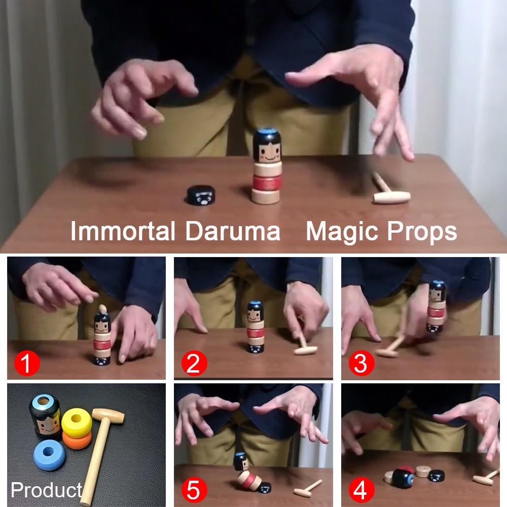 1set Immortal Daruma Unbreakable Wooden Man Magic Toy Magic Tricks Close Up Stage Magic Props Comedy Mentalism Fun Toy Accessory