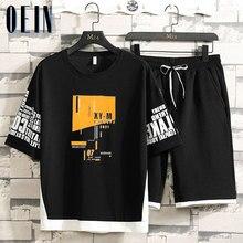 2021 novos conjuntos casuais dos homens da moda hip hop impresso t-shirts shorts conjuntos moletom plus size 4xl
