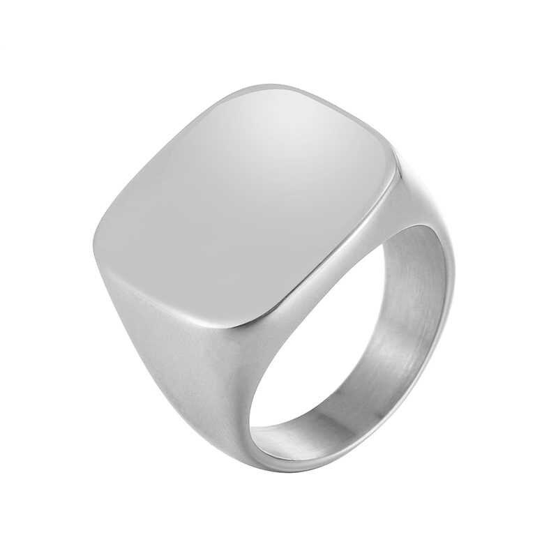 แหวนคลาสสิกสแควร์ขนาดใหญ่แหวนกว้างสำหรับ Men Punk แหวนสแตนเลส Signet แหวนเงินทองสีดำเครื่องประดับชาย