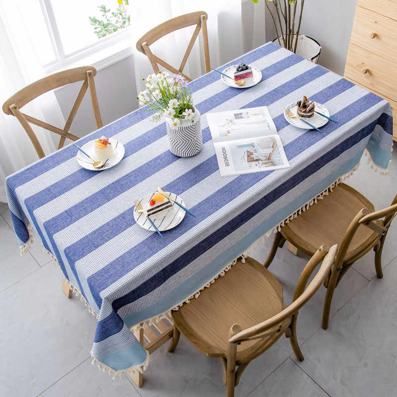 Stripe Two-tone Decorative Linen Tablecloth With Tassel Waterproof Oilproof Thicken Rectangular Wedding Dining Tea Table Cloth