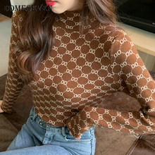 Basic Sweater Jumper Knitted Pullover Letter Half-Turtleneck Winter Casual Women Warm