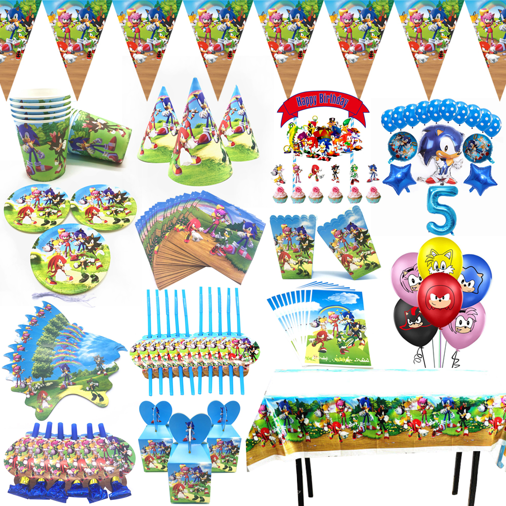 Sonic The Hedgehog Party Supplies Paper Cup Plates Sega Sonic The Hedgehog Super Hero Foil Balloon Set Kids Birthday Party Decor