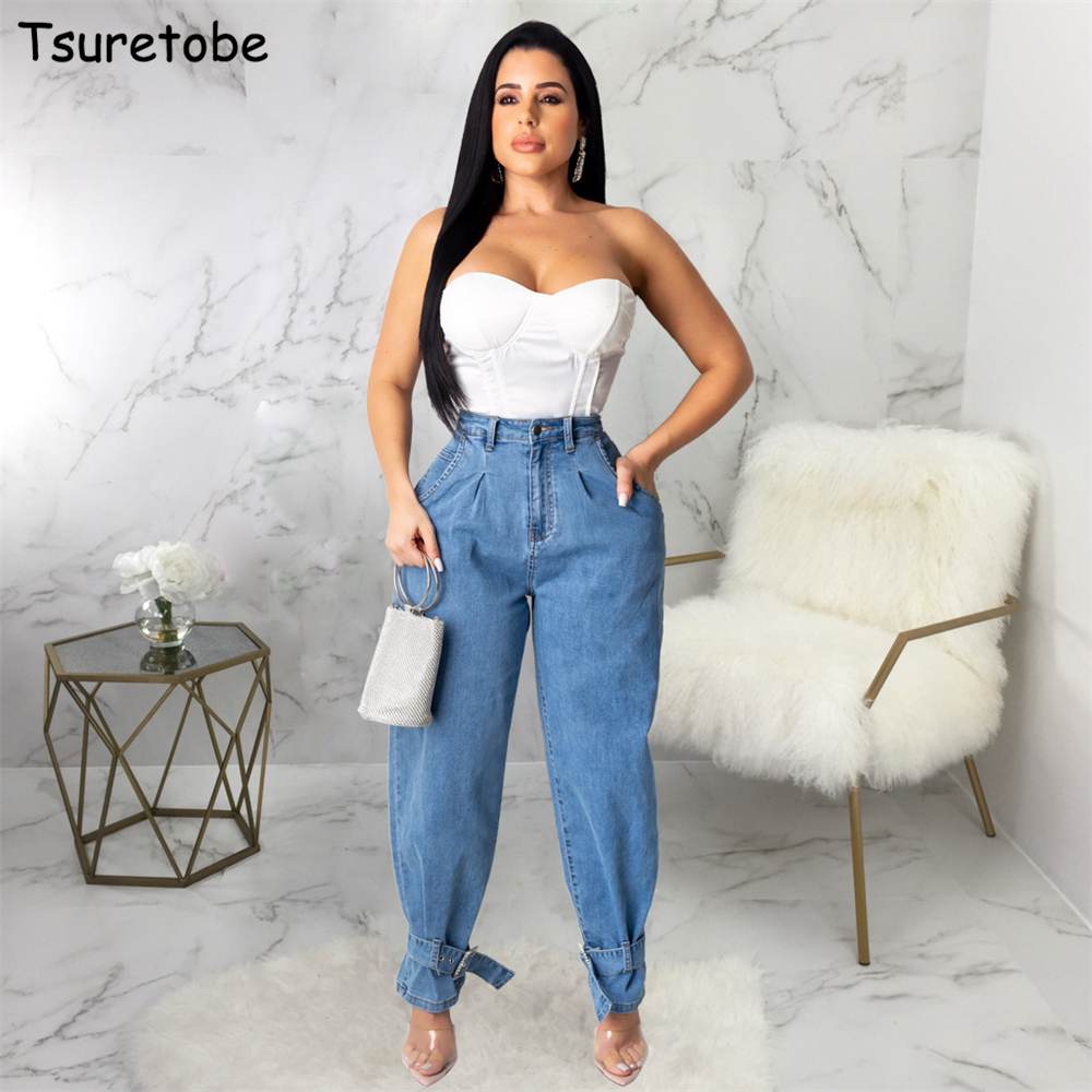Tsuretobe Autumn Loose High Waist Jeans Women Bandage Denim Wide Leg Pants Casual Straight Pants Boyfriend Jeans Joggers Trouser