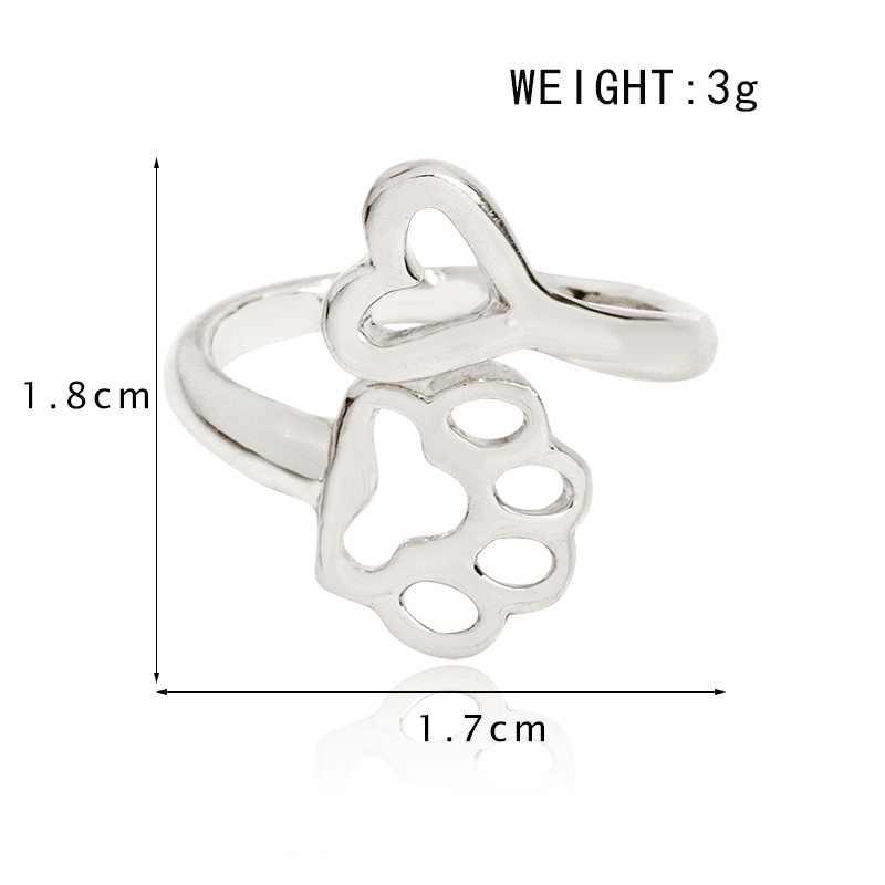 Регулируемое кольцо с отпечатком ноги, ювелирное изделие в виде сердца для владельцы собак животных металл Для женщин и девочек для годовщины помолвки вечерние свадебные туфли школьные