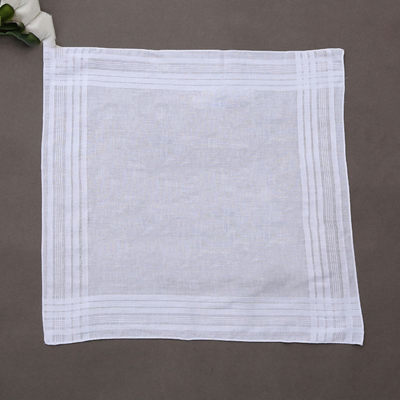 12Pcs/Set 40x40cm Men Women Cotton Handkerchiefs Pure White Classic Hankies Jacquard Striped Pocket Square Towel DIY Painting