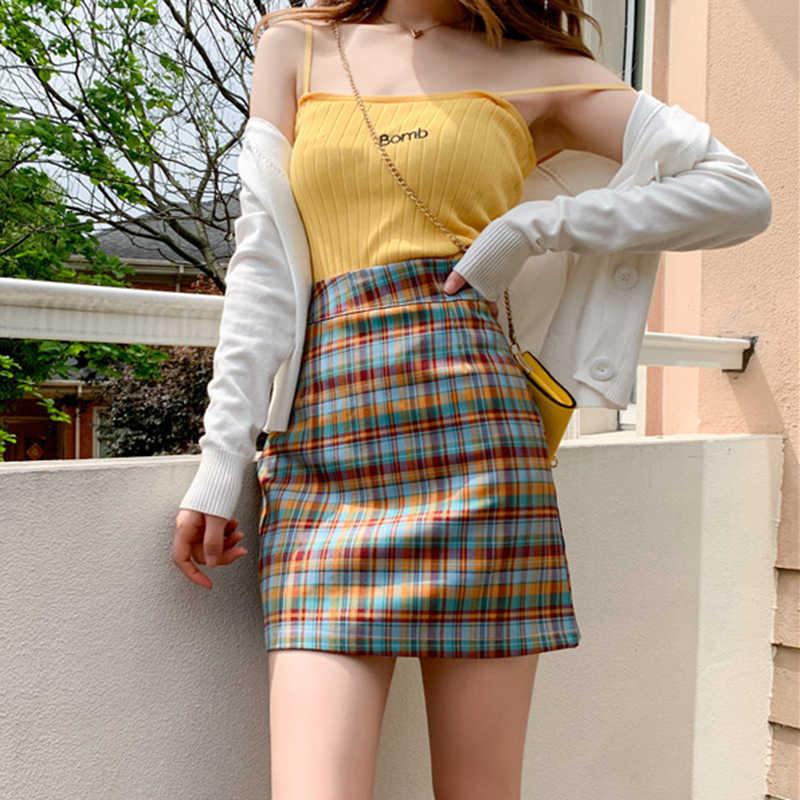 Harajuku משובץ חצאיות נשים קיץ בית ספר מתוק Kawaii סטודנטים אונליין חמוד מקרית מיני חצאית