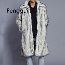 FENGGUILAI New Autumn Winter Mens Square Collar Faux Mink Fur Long Coat High-grade Man Comfortable Thick Warm Windbreaker