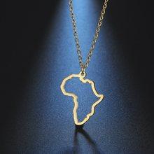 Minha forma mapa africano pingente gargantilla mujer gargantilla colar de corrente de aço inoxidável para mulheres áfrica do sul