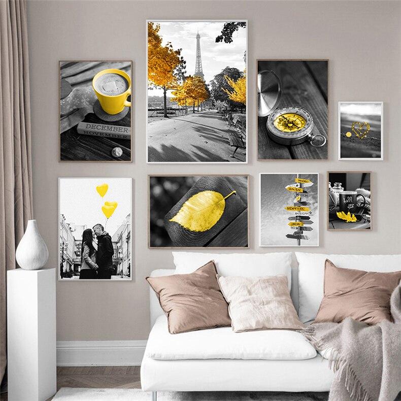 Современные желтый Стиль воздушный шар в форме автомобиля пейзаж живопись холст Nordic плакат Европейский пейзаж настенная живопись искусств...