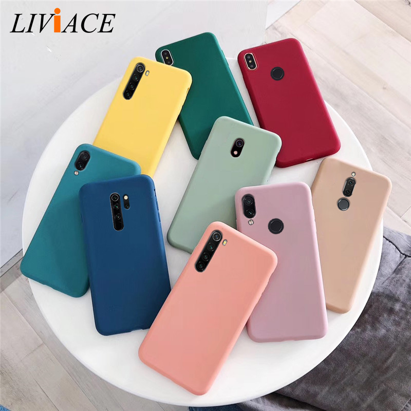 solid color soft silicone tpu <font><b>case</b></font> on for xiaomi <font><b>redmi</b></font> <font><b>note</b></font> 8 7 6 5 pro 8a 7a 8Tmatte back cover <font><b>xiomi</b></font> <font><b>redmi</b></font> note8 <font><b>note</b></font> 8pro image