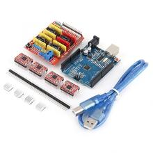 3D Printer Controller Stepper Motor Kit CNC Shield V3.0 Expansion Board+A4988 Stepper Motor Drivers For Engraving Machine cnc shield v4 expansion board nano 3 0 stepper a4988 driver for arduino 3d printer te732