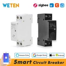 Zigbee / Wifi Circuit Breaker Smart Timer Switch Relay 32A 50A, Work with Tuya Zigbee Hub Gateway / eWeLink SONOFF Zigbee Bridge