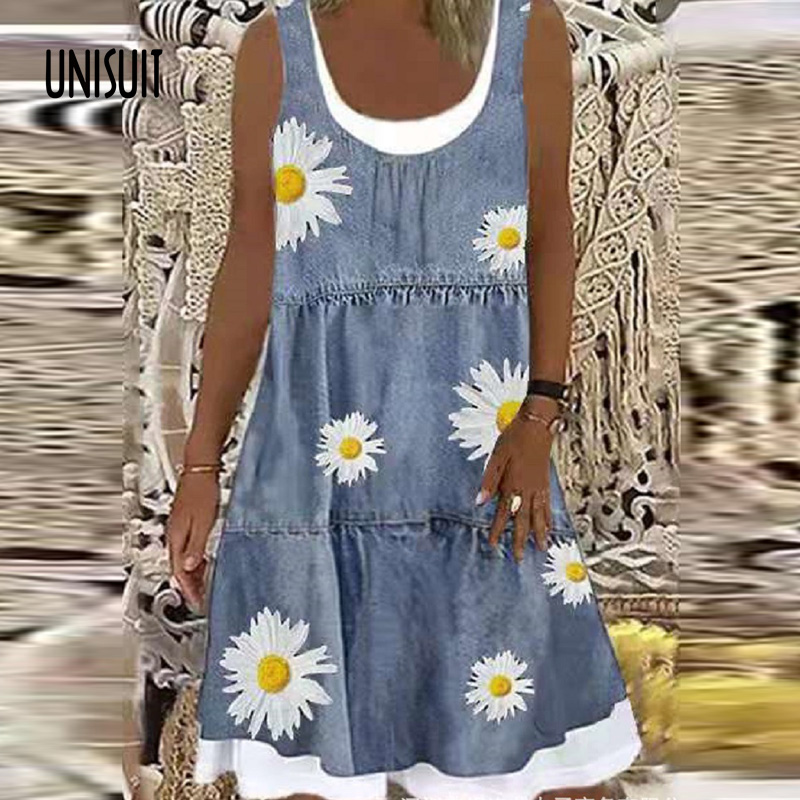 2021 Elegant Print O neck Mini Dress Summer Casual Loose Patchwork Ladies Dress Fashion Vintage Sleeveless Office Women Dresses