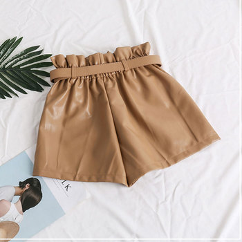 Elastic High Waist Loose PU Leather Shorts Women England Style Sashes Wide Leg Short Ladies Sexy Leather Shorts Autumn Winter 5