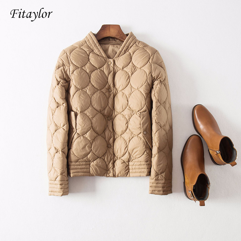 Fitaylor Autumn Winter Ultra Light White Duck   Down   Jackets Women Loose Short   Coat   Warm   Down     Coats   Black Red Khaki Beige