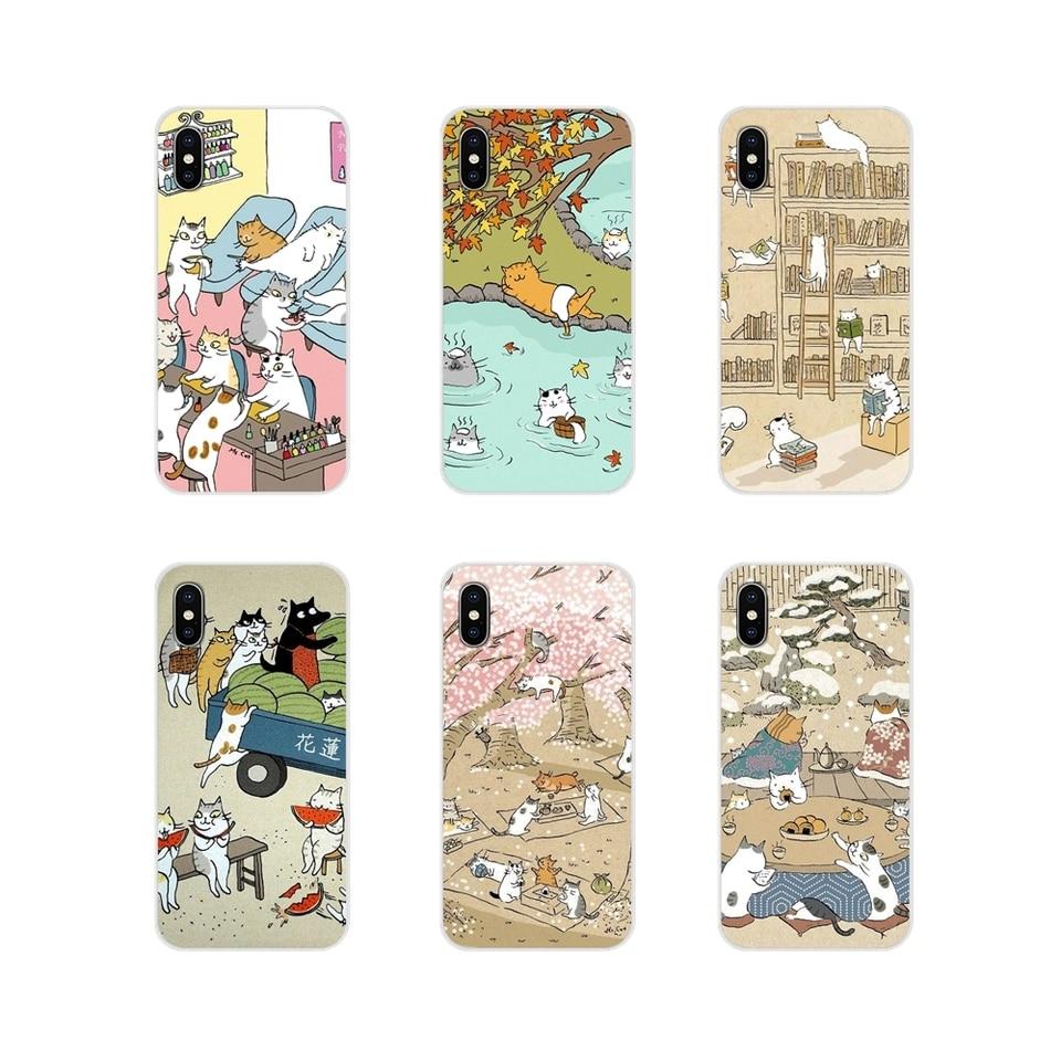 Coque TPU transparente couvre chat japonais motif boisson pour Apple iPhone X XR XS MAX 4 960x960