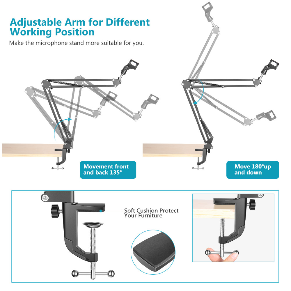 Neewer Extendable Recording Microphone Holder Suspension Boom Scissor Arm Stand Holder with Mic Clip Table Mounting Clamp