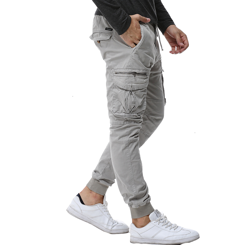 2019 Fashion Spring Mens Tactical Cargo Pants Men Joggers Army Military Casual Cotton Pants Hip Hop Ribbon Male Army Trousers 38