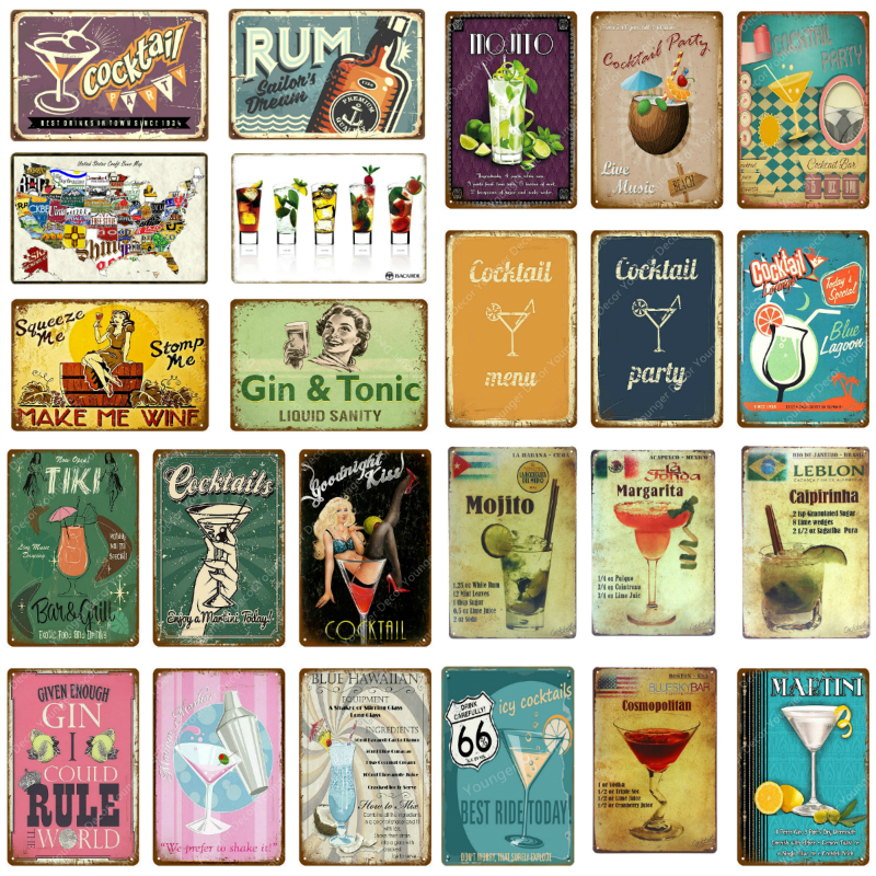 Gin Tonic Cocktail Party Decor Rum Mojito Tin Signs Tiki Bar Club Home Wall Art Painting Decorative Plaque Beer Poster YJ127(China)