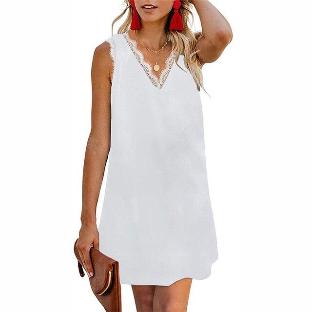 Femmes sexy couronne robe 2020 nouveau été loisirs pièce ample Mini robe de plage Vintage decathlon sans manches imprimer robe