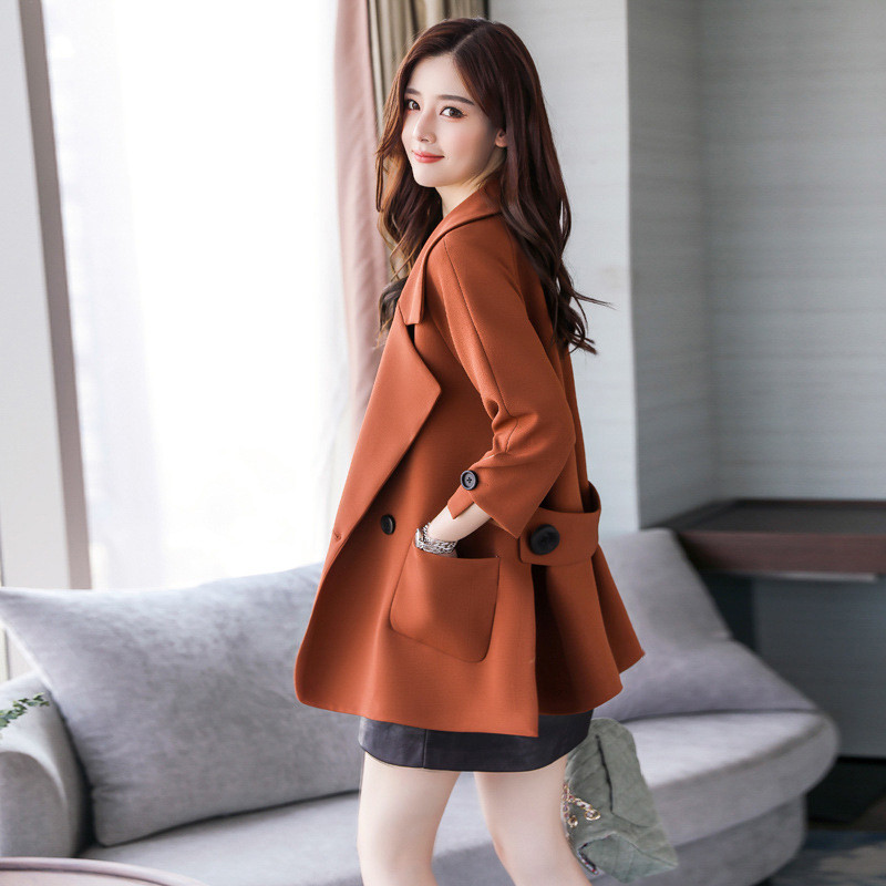 Autumn jacket women M-2XL plus size pink green beige coat 19 new long sleeve lapel fashion short paragraph jacket feminina LR484 29